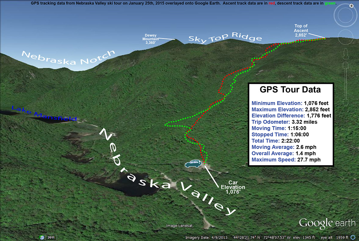 An image showing GPS data on Google Earth for a backcountry ski tour in the Nebraska Valley area of Vermont