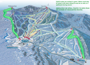 A map showing the routes of ascent for Bolton Valley's offical uphill travel policy for those skiers and riders that want to ascend the hill under their own power