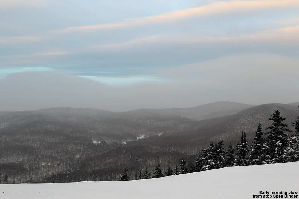 An image showing the morning view from the top of the Spell Binder trail at Bolton Valley Ski Resort in Vermont