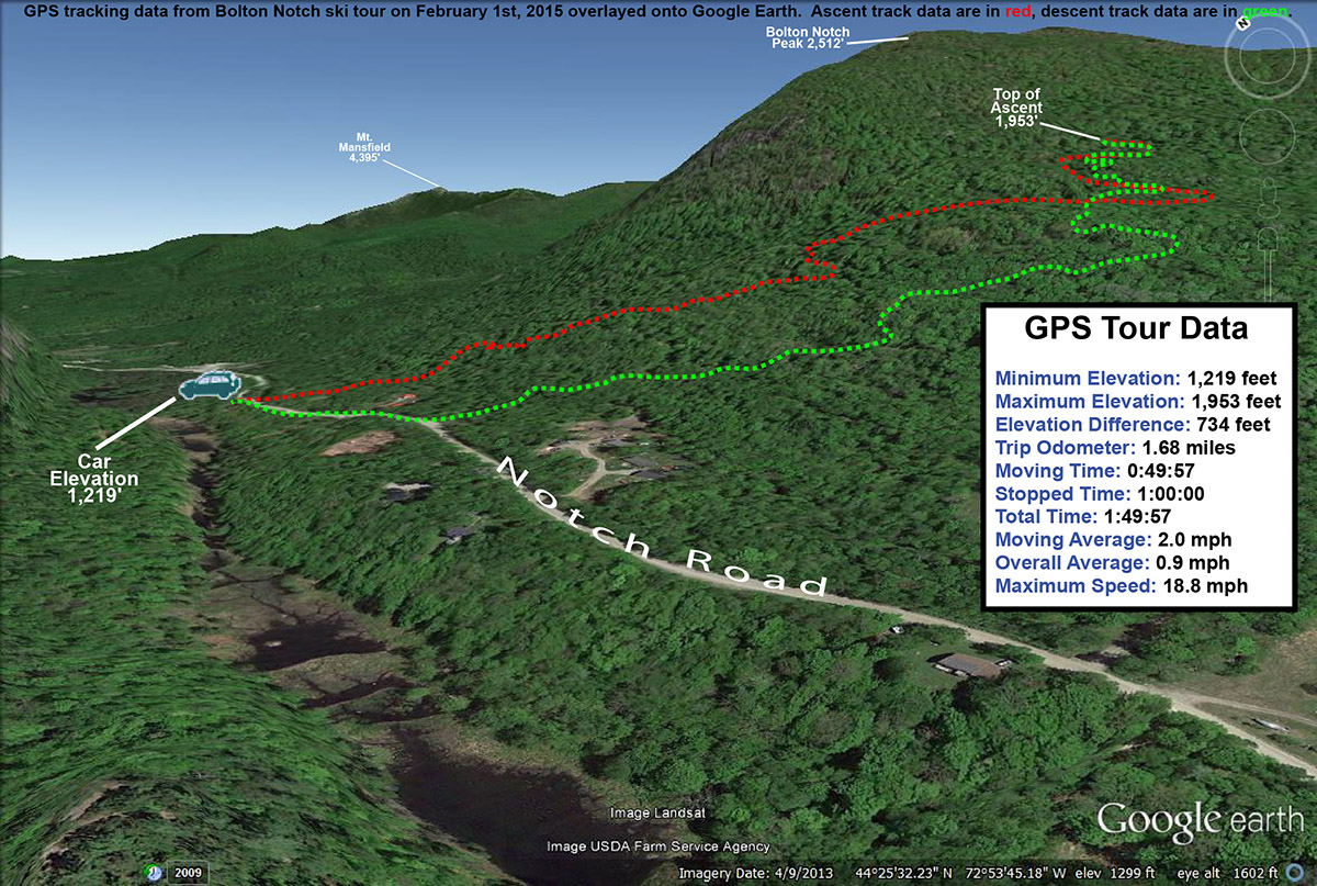 A Google Earth map showing GPS tracking data from a backcountry ski tour in the Bolton Notch area of Vermont