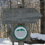 An image of the sign at the parking area for the Preston Pond Trails in Bolton Vermont