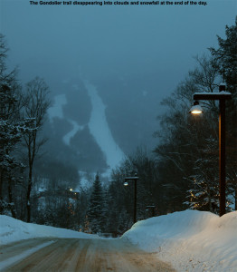 An image of the Gondolier trail at Stowe Mountain Resort in Vermont taken from the Spruce Peak area at the end of the day