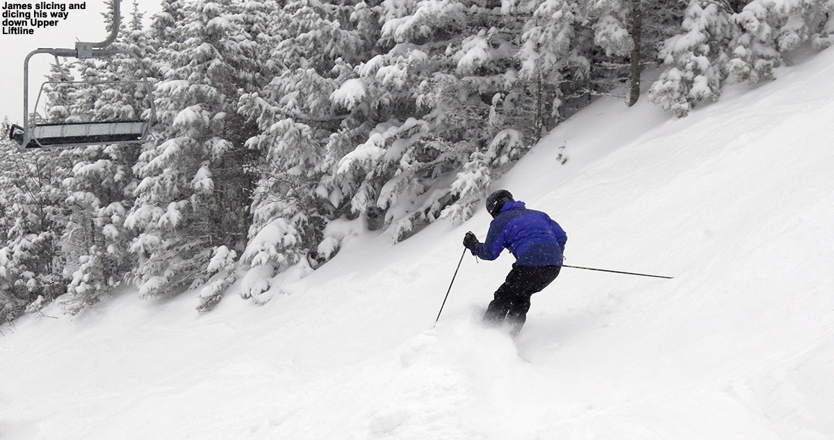 An image of James skiing on the Upper Liftline trail at Stowe Mountain Resort in Vermont