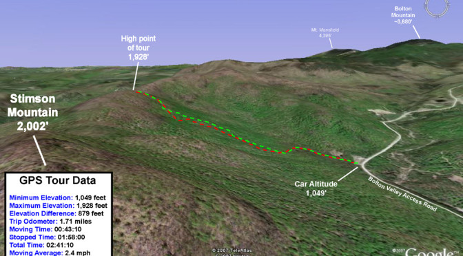 A Google Earth map showing GPS tracking data from a backcountry ski tour to the western ridge of Bolton Valley in Vermont