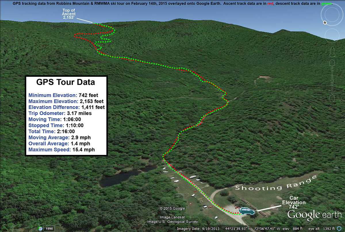 A Google Earth map with GPS tracking data from a backcountry ski tour on Robbins Mountain in Vermont