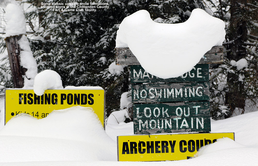 An image showing signs on the grounds of the Chittenden County Fish & Game Club in Richmond, Vermont buried in and covered with snow