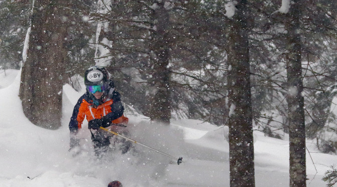 An image of Ty skiing in the Villager Trees area of Bolton Valley Ski Resort in Vermont during increasing snowfall at the start of Winter Storm Pandora