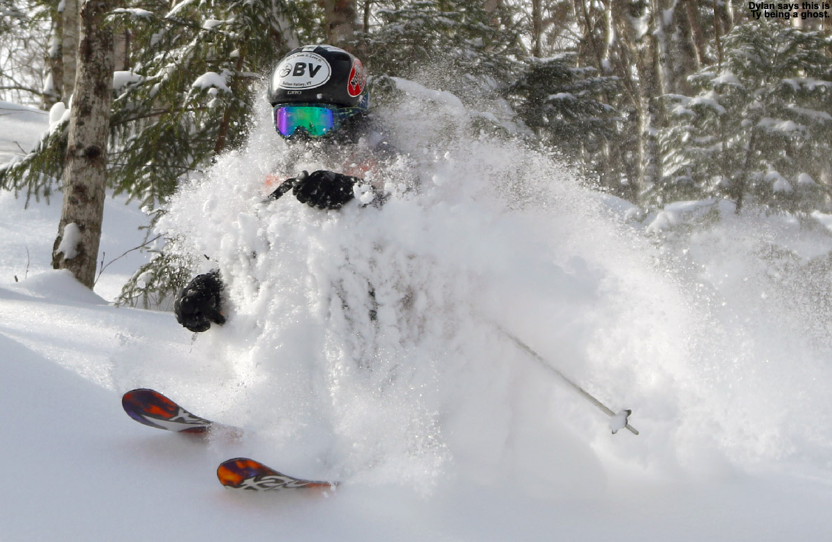 An image of Ty covered in powder while skiing in the Hazelton Zone at Stowe Mountain Resort in Vermont after Winter Storm Pandora dropped 9 inches of snow