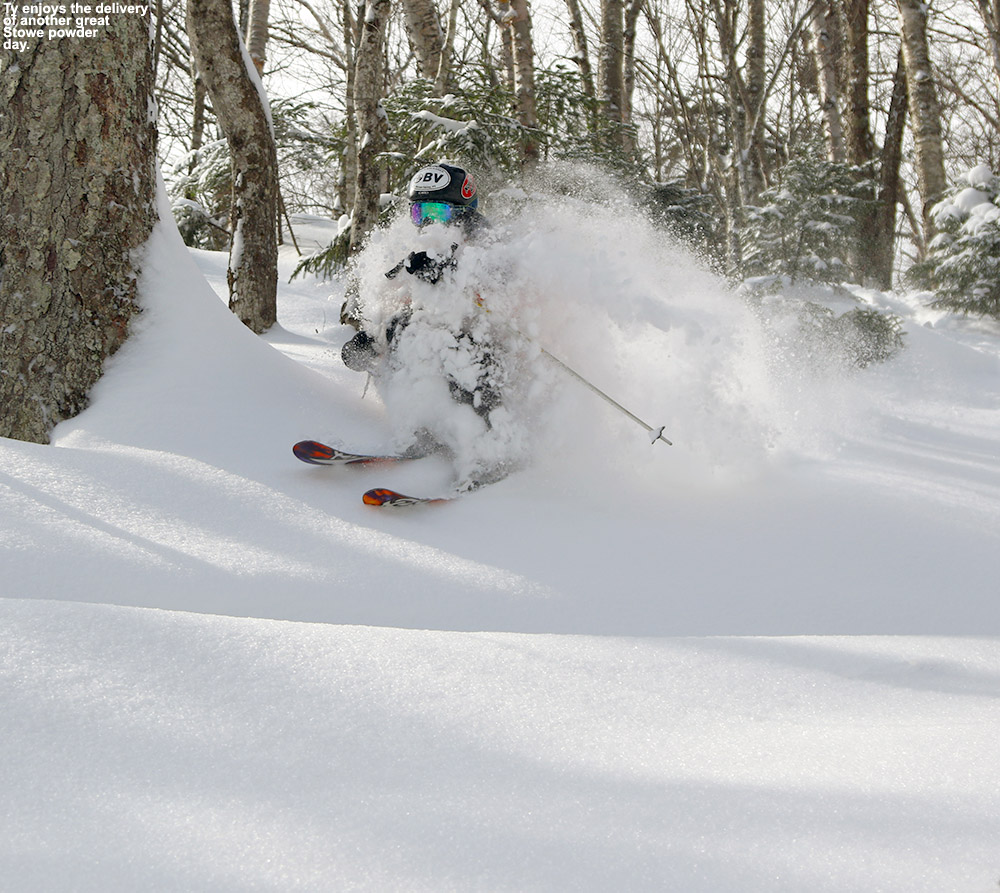 An image of Ty skiing deep powder in the Hazelton Zone of Stowe Mountain Resort in Vermont