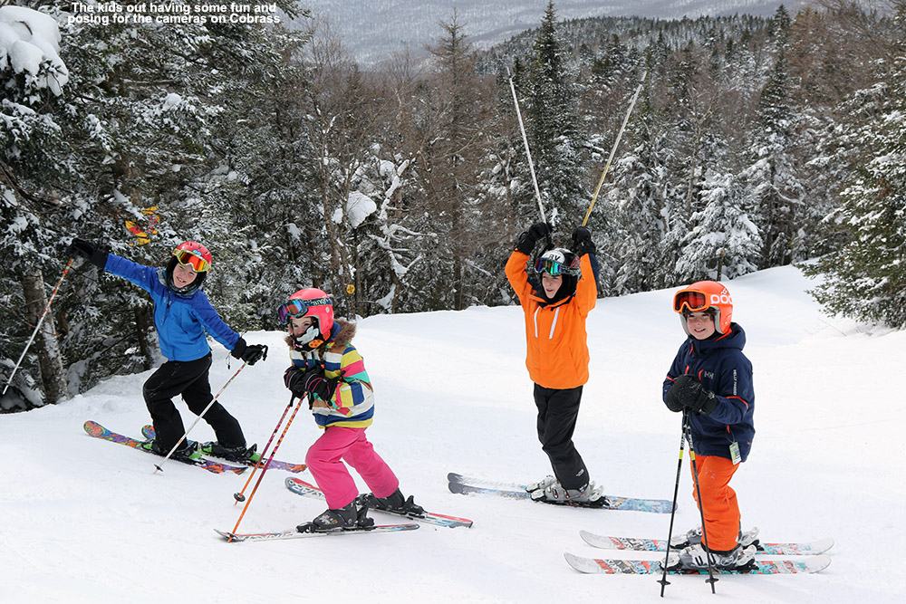 An image of kids on the Cobrass trail at Bolton Valley Ski Resort in Vermont