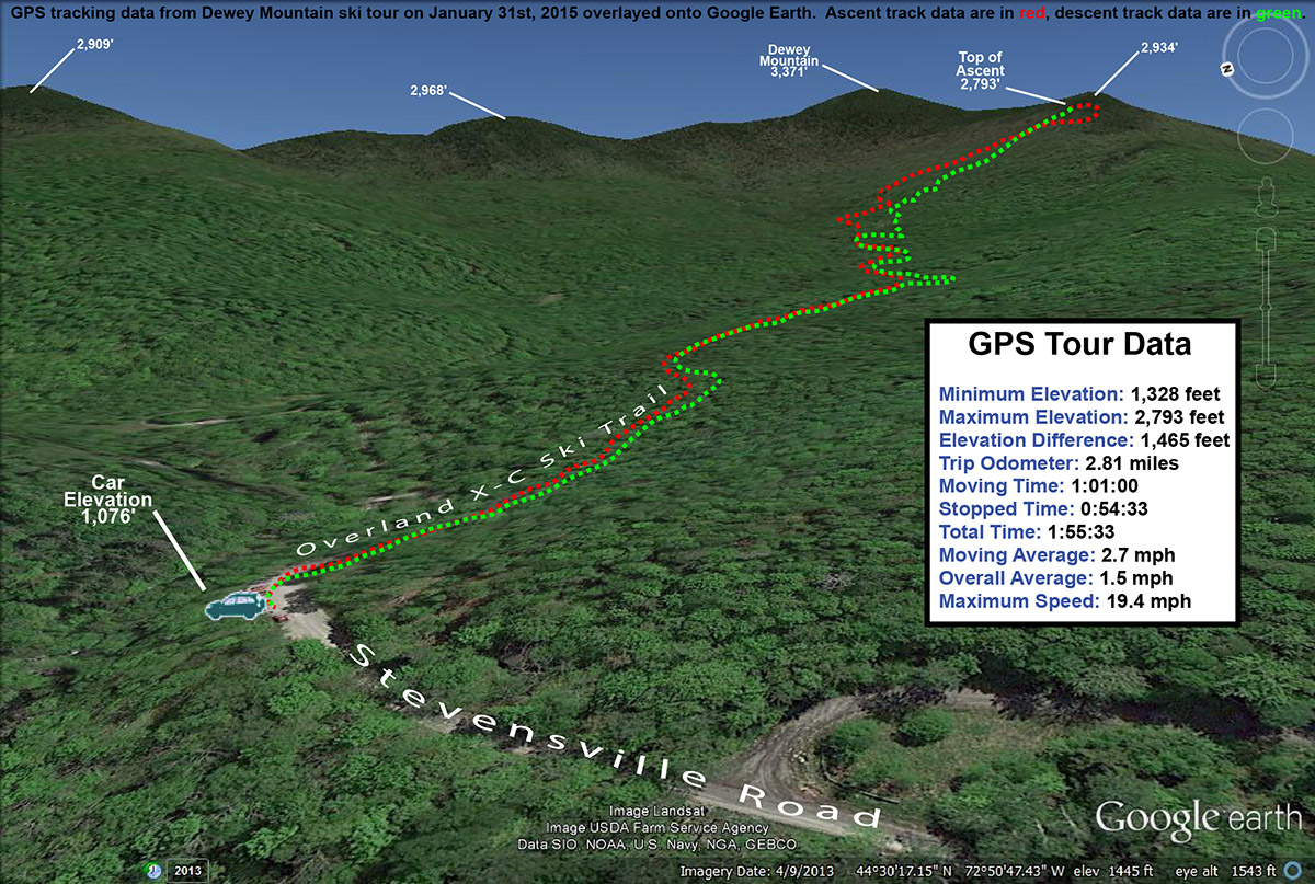 A Google Earth map showing GPS tracking data from a backcountry ski tour on Dewey Mountain in Vermont