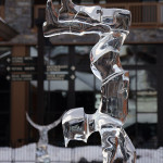 An image of an ice sculpture in the Spruce Peak Village at Stowe Mountain Resort in Vermont