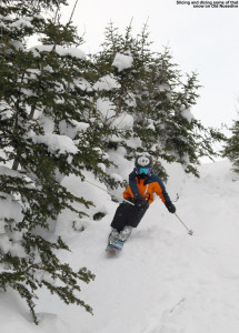 An image of Ty skiing on the old Nosedive trail at Stowe Mountain Resort in Vermont