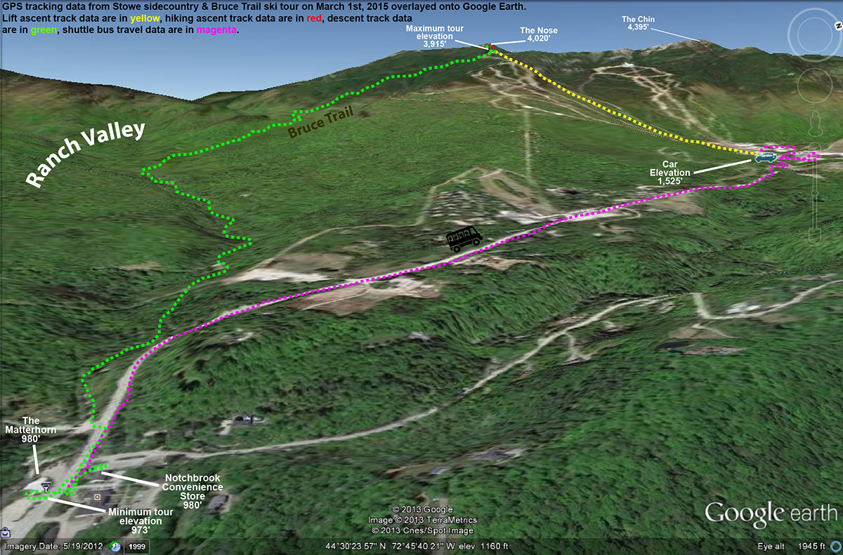 A Google Earth map with GPS tracking data showing the route of a ski tour at Stowe and in the sidecountry along the Bruce Trail