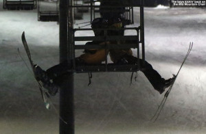 An image of Ty and Dylan sitting on the Mid Mountain Chairlift at Bolton Valley Ski Resort in Vermont