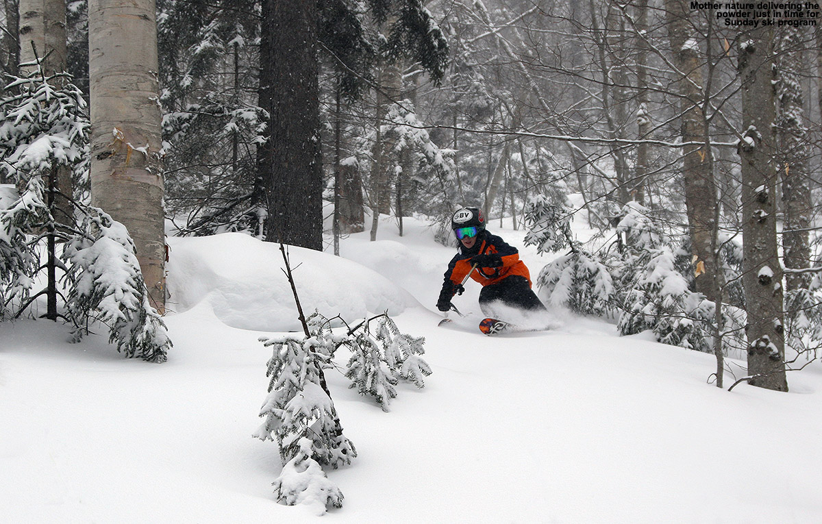 An image of Ty skiing powder snow in the trees near the Chin Clip Streambed at Stowe Mountain Resort in Vermont