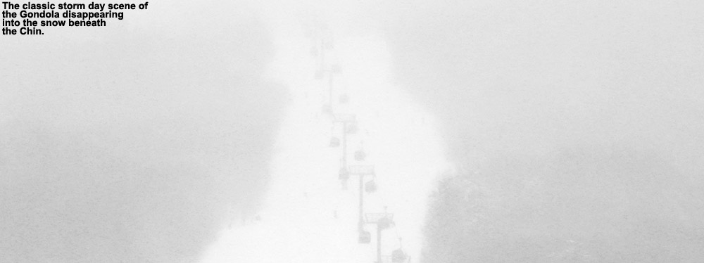 An image of the Gondola obscured by snowfall at Stowe Mountain Ski Resort in Vermont