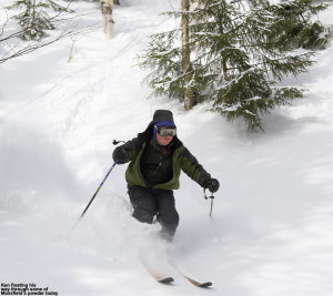 An image of Ken skiing untracked powder out near the Angel Food area of Stowe Mountain Resort in Vermont