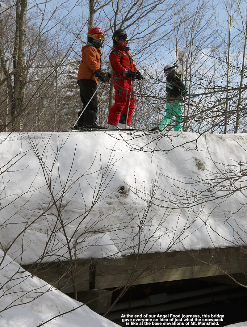 An image of a bridge showing the depth of snowpack at the base of Stowe Mountain Resort in Vermont