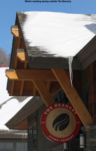 "An image of the outside of ""The Beanery"" coffee shop at Stowe Mountain Resort in Vermont"