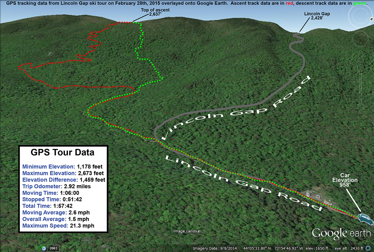 A Google Earth map with GPS tracking data of a backcountry ski tour in the Lincoln Gap area of Vermont