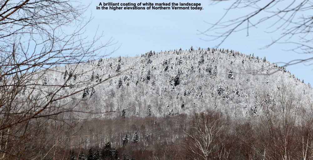 An image of snow in the mountains around Bolton Valley in Vermont