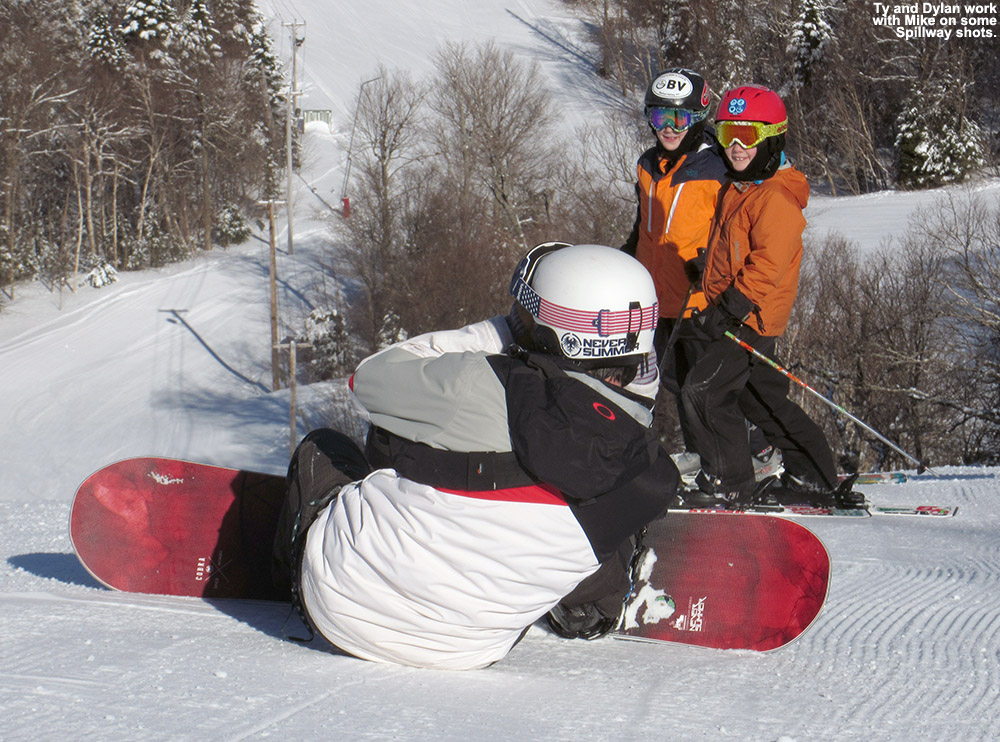 An image of Ty and Dylan on the Spillway trail at Bolton Valley Ski Resort in Vermont being photographed by Bolton Valley photographer Mike