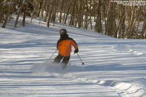 An image of Ty skiing powder snow on the Snowflake Bentley trail at Bolton Valley Ski Resort in Vermont