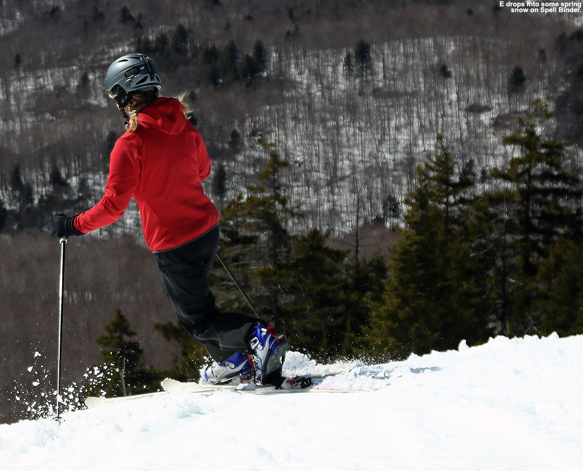 An image if Erica Telemark skiing in spring snow on the Spell Binder trail at Bolton Valley Resort in Vermont