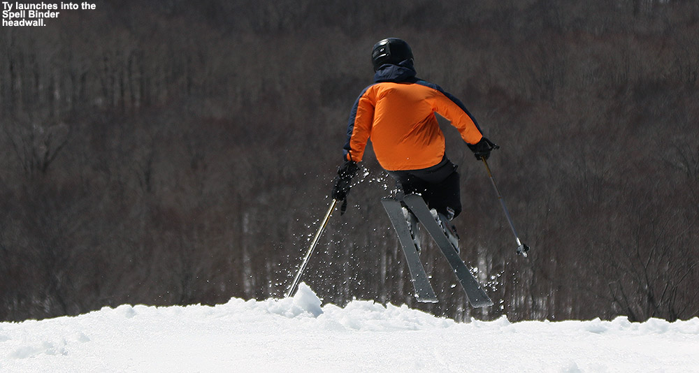 An image of Ty skiing the Spell Binder trail at Bolton Valley Ski Resort in Vermont