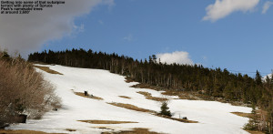 An image of snow on the slopes of Spruce Peak at Stowe Mountain Resort in Vermont in early May