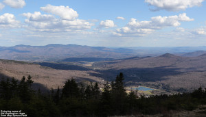 An image looking out from the sop of Spruce Peak at Stowe Mountain Resort in Vermont