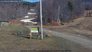 An image from the Web Cam at Bolton Valley Ski Resort in Vermont in early May
