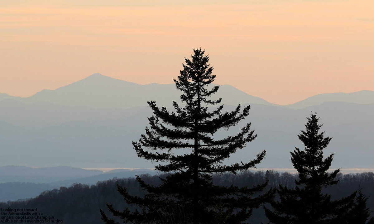 An image looking westward toward the Adirondack Mountains and Lake Shamplain from Bolton Valley Ski Resort in Vermont