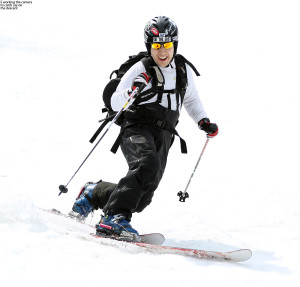 An image of Jay Telemark skiing on the Nosedive trail at Stowe Mountain Resort in Vermont in May