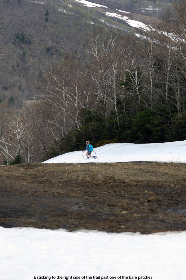 An image of Erica Telemark skiing at Stowe Mountain Resort in Vermont in May on some of the remaining snow