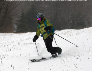 An image of Erica skiing on some fresh snow during the holidays at Bolton Valley Ski Resort in Vermont