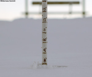 An image of the snow depth at the top of the Wilderness Chairlift at Bolton Valley Ski Resort in Vermont