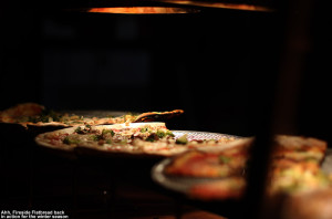 An image of pizza at Fireside Flatbread at Bolton Valley Ski Resort in Vermont
