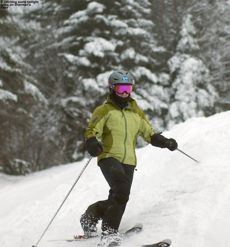 An image of Erica Telemark skiing on the Sherman's Pass trail at Bolton Valley Ski Resort in Vermont
