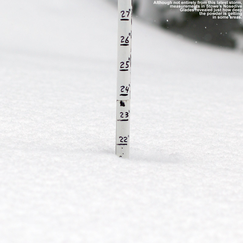 An image showing 22 inches of snow in the Nosedive Glades at Stowe Mountain Resort in Vermont