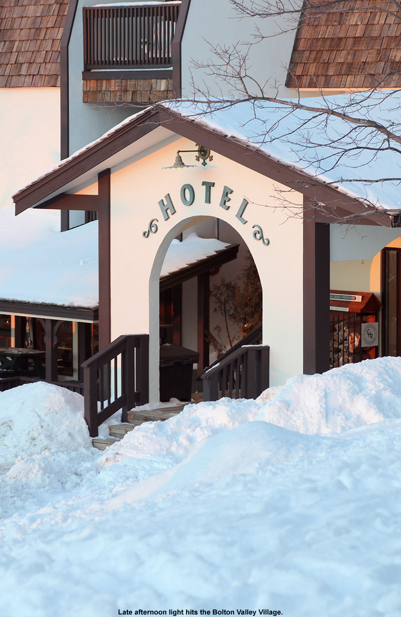 An image showing the entrance to the Hotel at Bolton Valley Ski Resort in Vermont