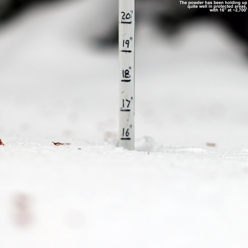 An image of the snow depth at Bolton Valley Resort in Vermont