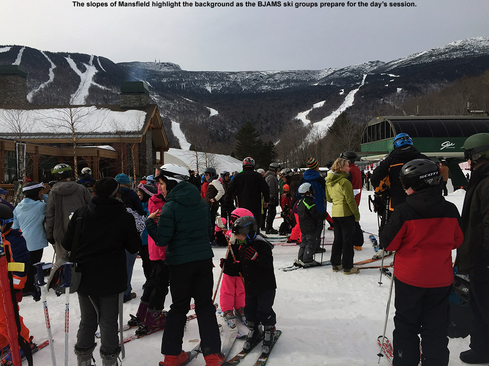 An image of the ski groups at the BJAMS ski program at Stowe Mountain Resort in Vermont as they begin their afternoon program session