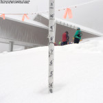 An image showing four inches of snow near the Cliff House on Mt. Mansfield at Stowe Mountain Resort in Vermont.
