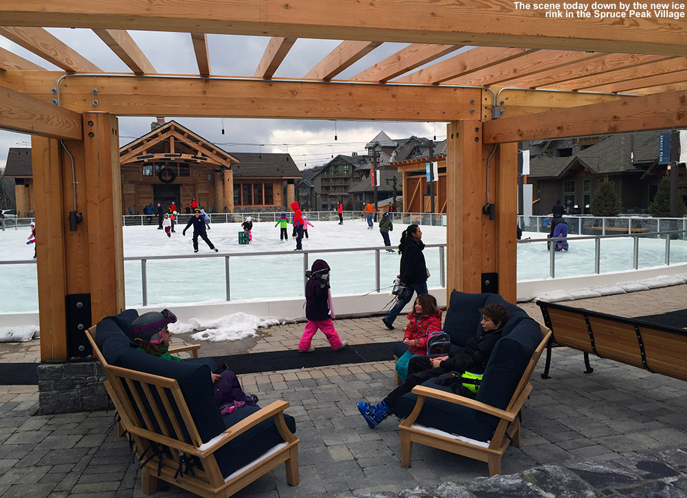 An image of the ice rink in the Spruce Peak Village at Stowe Mountain Ski Resort in Vermont