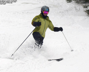 An image of Erica skiing powder on the Wilderness Liftline trail at Bolton Valley Resort in Vermont