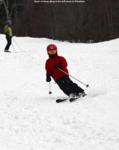An image of Dylan skiing the Showtime trail at Bolton Valley Ski Resort in Vermont