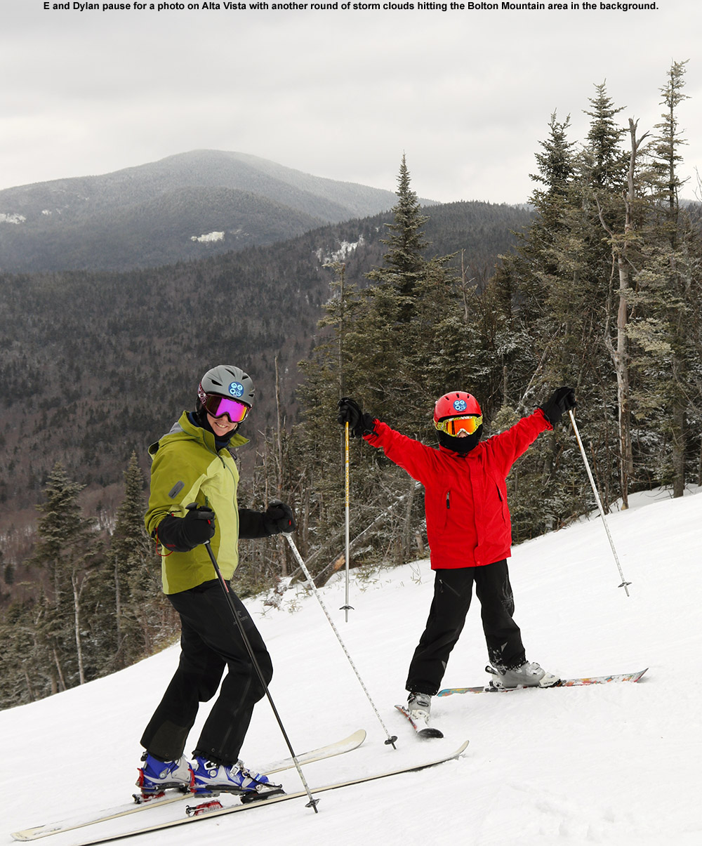 An image of Erica and Dylan near the top of the Alta Vista trail at Bolton Valley Ski Resort in Vermont