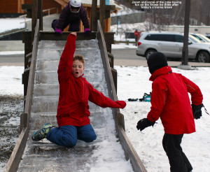 An image of Jonah on the Stowe Ice Slide at Stowe Mountain Ski Resort in Vermont
